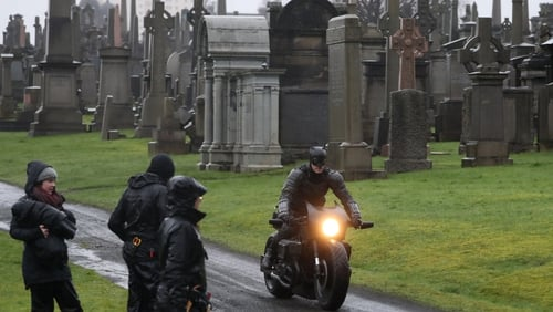 The Press Association reports that filming took place at Glasgow's Necropolis cemetery on Friday All photos: Press Association