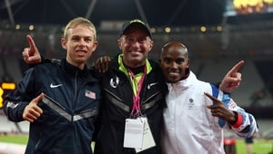 Farah (R) pictured after winning 10,000m Gold at the London 2012 Olympics with silver medalist Galen Rupp (L) of the US and disgraced coach Alberto Salazar.