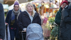 Sharon returns to the Square in the wake of Dennis' death on EastEnders