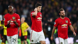 Aaron Wan-Bissaka, Harry Maguire and Juan Mata look dejected after losing at Vicarage Road back in December.