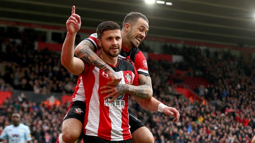 Shane Long celebrates his goal with Danny Ings