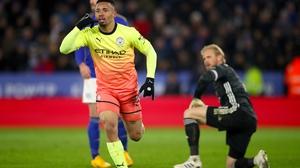 Manchester City's Gabriel Jesus celebrates scoring the winner