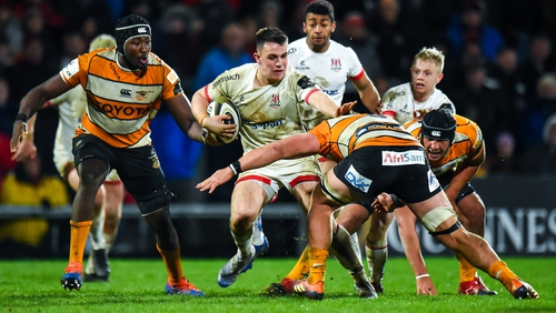 James Hume of Ulster is tackled by Jasper Wiese