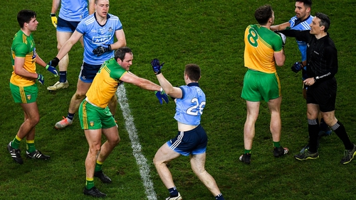 Dublin and Donegal players get to know each other during a February 2020 clash at Croke Park