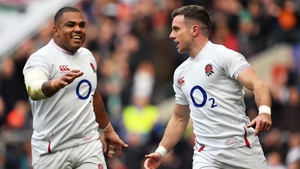 Kyle Sinckler goes to congratulate George Ford after the latter scored England's opening try