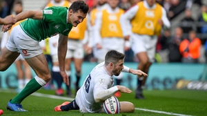 Elliot Daly crosses the whitewash for England in their 24-12 win over Ireland in this year's Six Nations