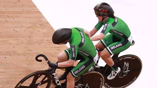 Lydia Boylan and Lydia Gurley of Ireland competes in the Women's Madison Final during the UCI Track Cycling World Cup Hong Kong in November 2019