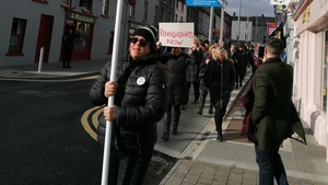 Around 100 protesters took to the streets and marched on Westmeath County Council buildings