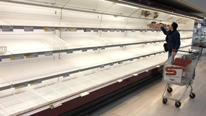 Empty shelves at a supermarket near Milan as people stockpile due to the fear of coronavirus