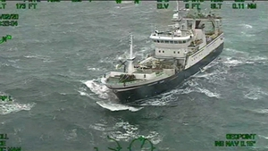 The fisherman was airlifted off the trawler (Courtesy: Irish Coast Guard/Rescue 117)