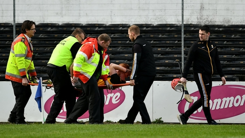 Mullen is brought off the pitch at Nowlan Park