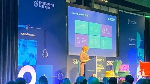 Enterprise Ireland CEO Julie Sinnamon speaking at the Start-up event today