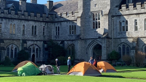 The protest in the Quad area of the college began earlier today