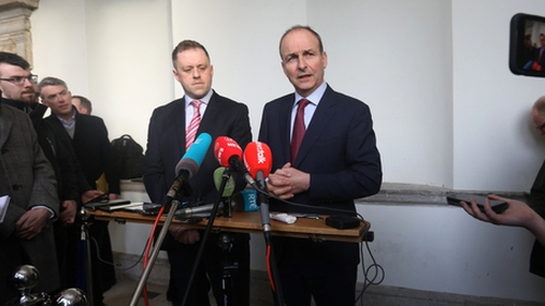 Micheál Martin speaking to reporters following his meeting with Leo Varadkar
