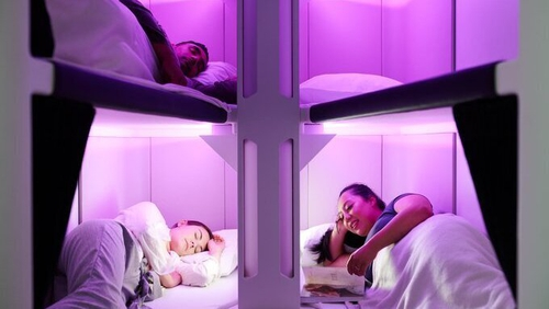 The airline said each 'pod' would contain six beds for passengers to sleep in during long flights
