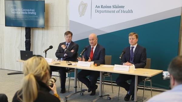 Liam Woods, Dr Tony Holohan and Dr Cillian De Gascun