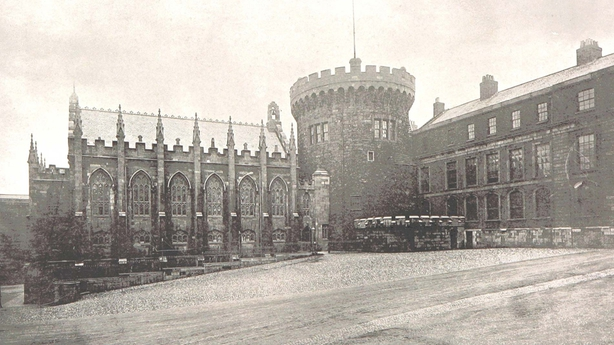 A view of the lower yard of Dublin Castle, with the record tower and the chapel, taken from 'Dublin Castle' (1889) by Maurice O'Connor Photo: British Library