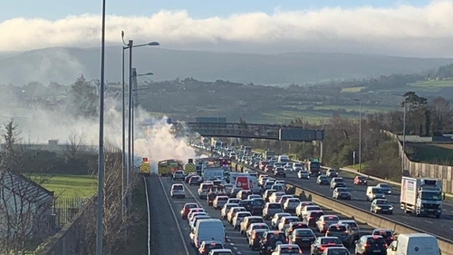 The incident caused major traffic disruption on the M50 this morning (Pics: @DubFireBrigade)