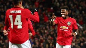 Fred (R) celebrates with team-mate Jesse Lingard
