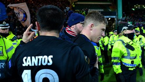 Micheal Santos (L) celebrates with Pep Biel after Biel's goal a Celtic Park