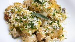 Chicken, Leek & Mushroom Potato Gratin