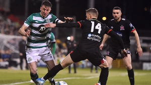Ronan Finn of Shamrock Rovers and Dundalk's Dane Massey tussle for possession back in February