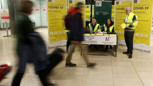 A HSE team at Dublin Airport as part of the public awareness campaign