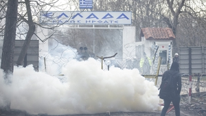 Tear gas was fired during clashes at the border