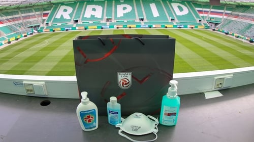 Disinfectants, hand soap and face masks in the press box at Rapid Wien