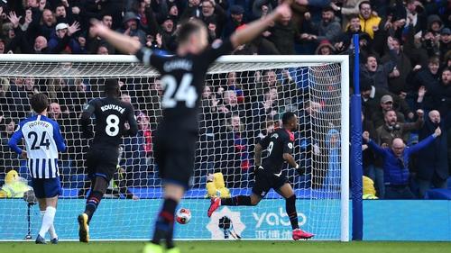 Jordan Ayew (R) celebrates scoring the only goal