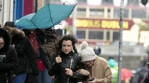 People battle the weather in Dublin city centre