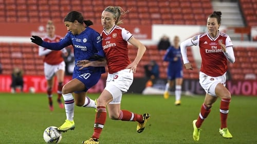 Sam Kerr of Chelsea is challenged by Louise Quinn of Arsenal and Ireland