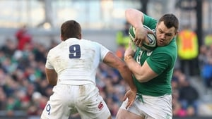 Cian Healy of Ireland takes on Ben Youngs in 2015