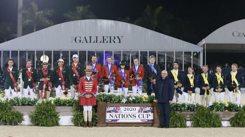 Teams from Ireland, USA an Australia stand on the podium following the Wellington Nations Cup in Florida