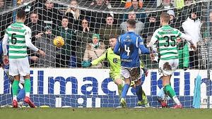 Ryan Christie's shot flies past St Johnstone keeper Zander Clarke