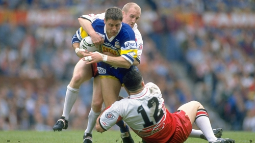 Shaun Edwards and Andy Farrell (12) in action for Wigan in 1995