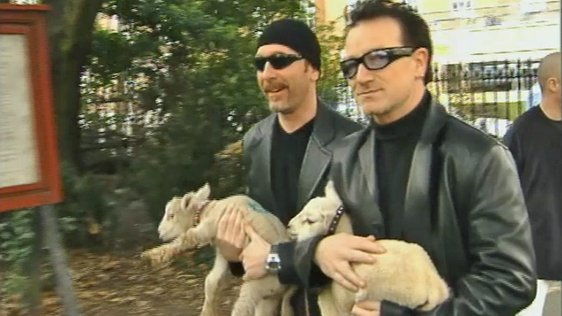 Bono Edge and Lambs in St Stephen's Green, Dublin (2000)