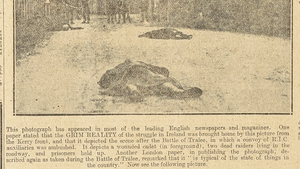 On November 27th 1920 the Irish Independent newspaper responds quickly to British propaganda, exposing the 'Battle of Tralee' as a British propaganda ploy. Imagecourtesy of National Library of Ireland