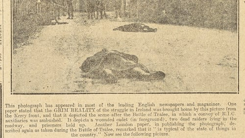 On November 27th 1920 the Irish Independent newspaper responds quickly to British propaganda, exposing the 'Battle of Tralee' as a British propaganda ploy. Image courtesy of National Library of Ireland