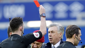 Carlo Ancelotti is shown a red card by referee Chris Kavanagh