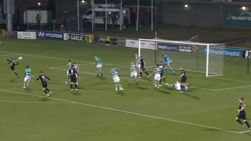 Jordan Flores connects with Michael Duffy's perfectly weighted corner