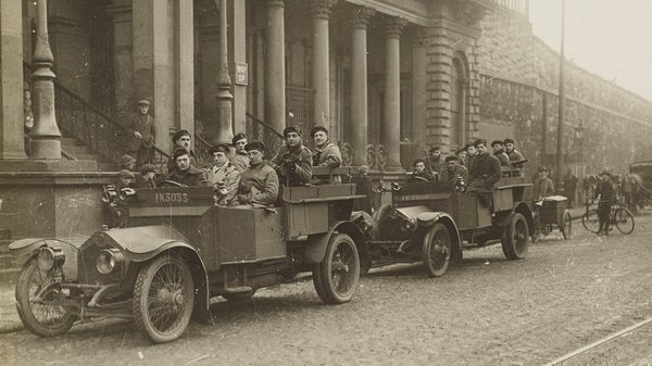 Auxilaries outside Amiens Street, now Connolly Station, 1920