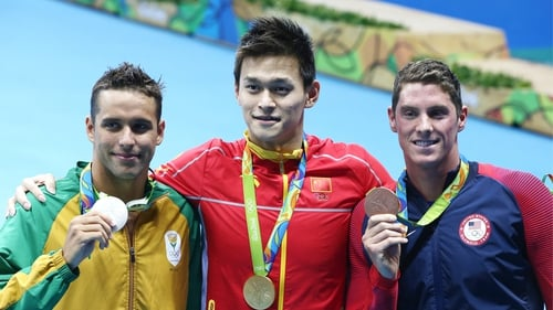 Chad le Clos, with his silver medal in Rio, alongside the now banned Sun Yang