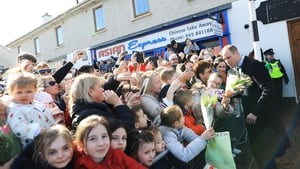 Crowds gathered outside the store to greet the pair in Prosperous (Pic: Julian Behal)