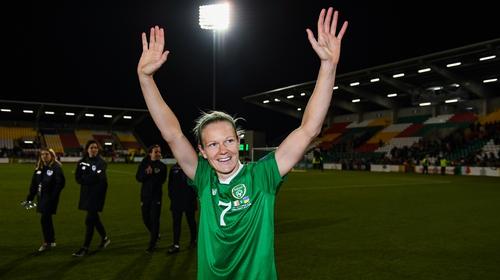 Diane Caldwell of Republic of Ireland celebrates following the UEFA Women's 2021 European Championships win over Ukraine