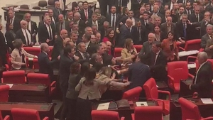 Dozens of parliamentarians joined the brawl, some climbing desks or throwing punches