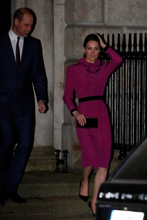 Prince William and Kate Middleton leave the reception on St Stephen's Green in Dublin