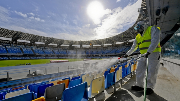 Operators of 'Napoli Servizi' sanitize the San Paolo stadium in Naples to prevent the dangers of coronavirus