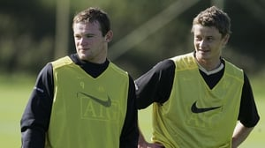 Wayne Rooney and Ole Gunnar Solskjaer as Manchester United colleagues in 2006