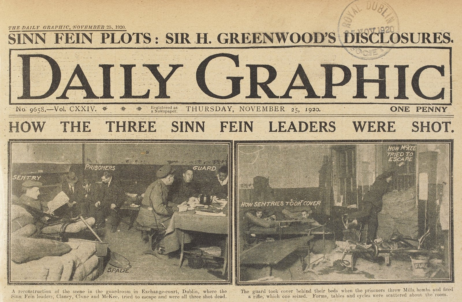 Image - Highly choreographed reconstructions of the men's alleged escape attempt were publicised by the British. Daily Graphic, 25 November 1920, courtesy of National Library of Ireland